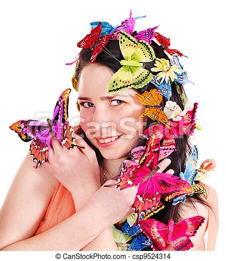春, ヘアスタイル, 女の子, makeup. - csp9524314