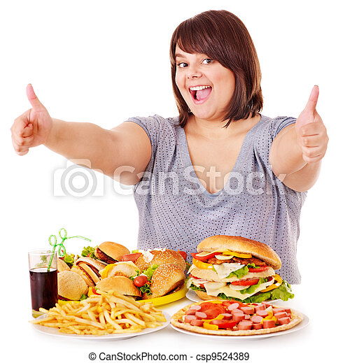 Woman eating fast food. - csp9524389