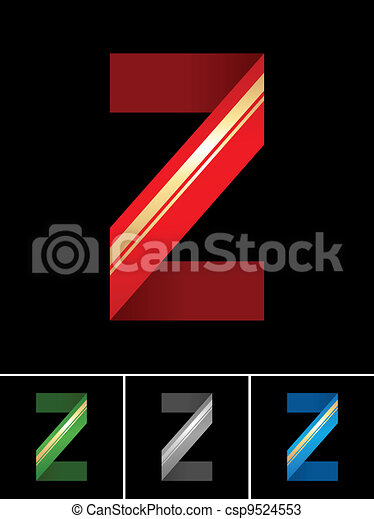 ABC font from coloured set paper ribbon-Latin letter Z - csp9524553