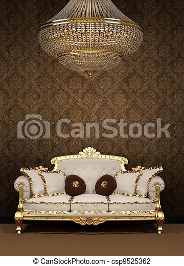 Clip art von kronleuchter sofa barock wohnung luxus baroque sofa csp9525362 suchen - Kronleuchter barock ...
