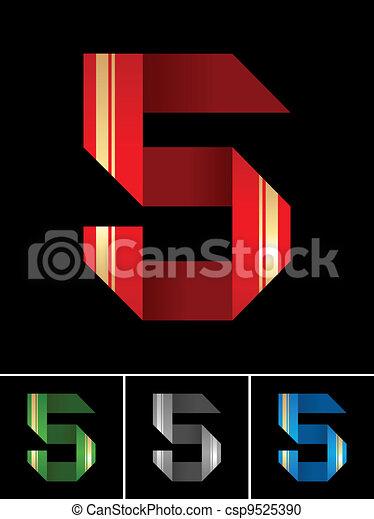 Numeral of paper tape - 5 - csp9525390