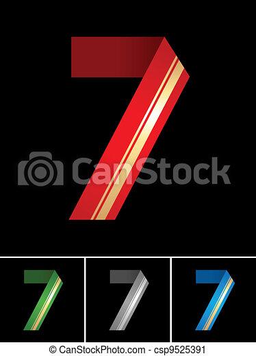 Numeral of paper tape - 7 - csp9525391