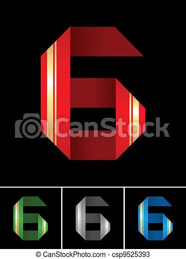 Numeral of paper tape - 6 - csp9525393