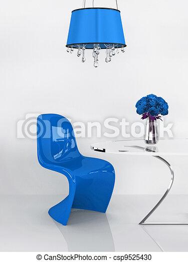 Modern chair in minimalism interior. Furniture. Loft. 3D Render - csp9525430