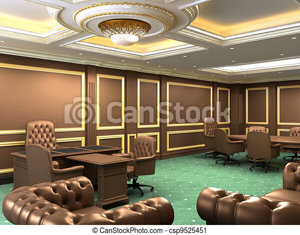 Interior office space, royal apartment with luxury furniture - csp9525451