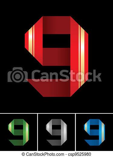 Numeral of paper tape - 9 - csp9525980
