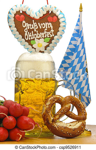 big glass of german bavarian beer at world famous beer festival Oktoberfest  in Munich - csp9526911