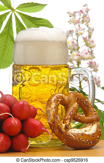 big glass of german bavarian beer at world famous beer festival Oktoberfest  in Munich - csp9526916