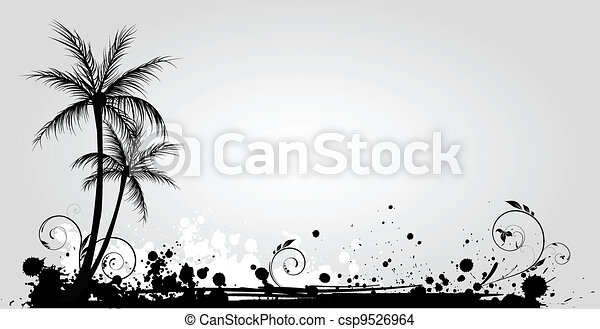 Palm trees on grunge background - csp9526964