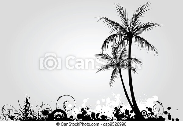 Palm trees on grunge background - csp9526990