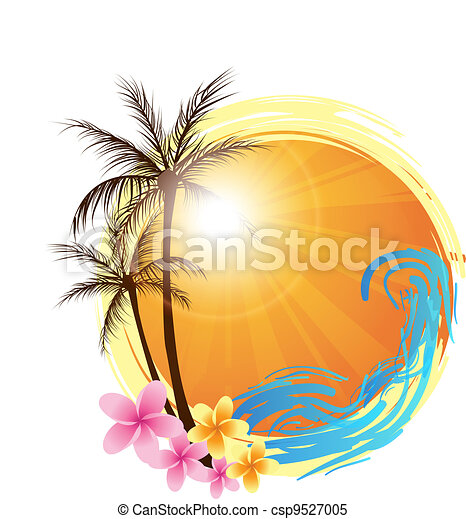 Round background with palm trees - csp9527005