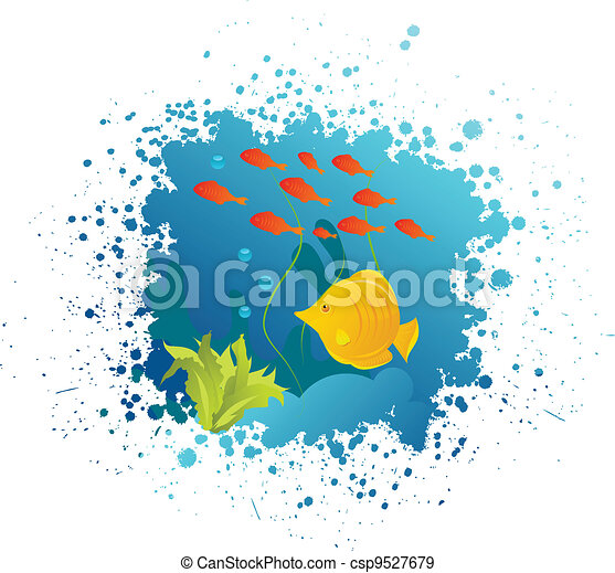 Grunge underwater background - csp9527679