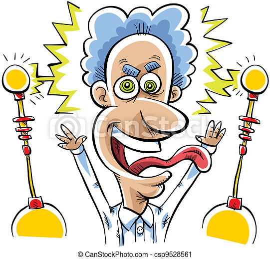 Clipart of Mad Scientist - A mad scientist is excited with electricity ...