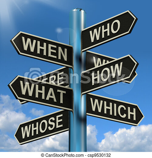 Who What Why When Where Signpost Shows Confusion Brainstorming And Research - csp9530132