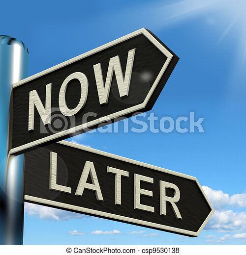 Now Or Later Signpost Showing Delay Deadlines And Urgency - csp9530138