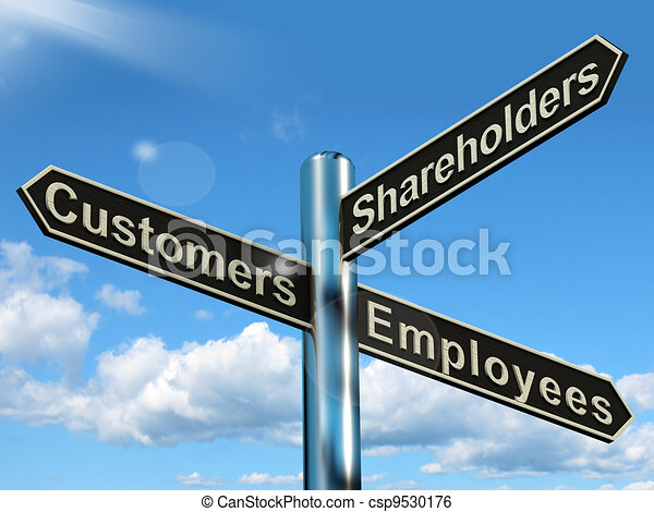 Customers Employees Shareholders Signpost Shows Company Organization - csp9530176