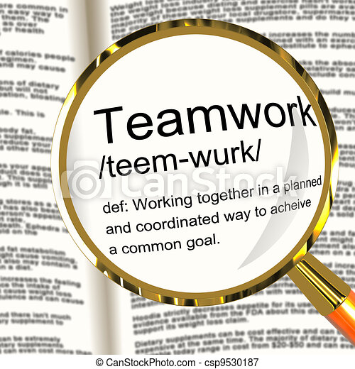 Teamwork Definition Magnifier Shows Combined Effort And Cooperation - csp9530187