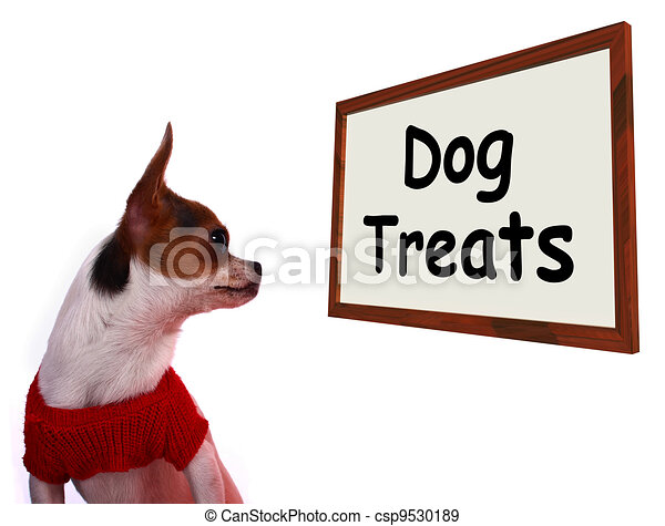 Dog Treats Sign Showing Canine Rewards Or Snacks - csp9530189