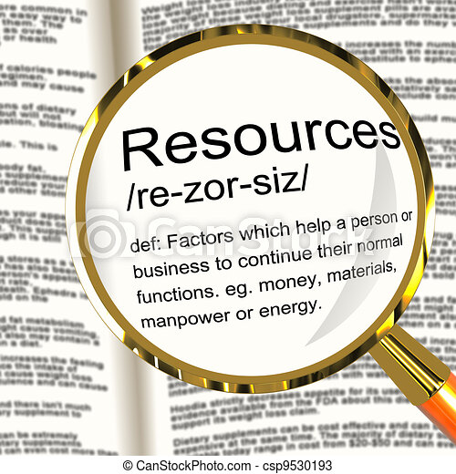Resources Definition Magnifier Shows Materials Assets And Manpower For A Business - csp9530193