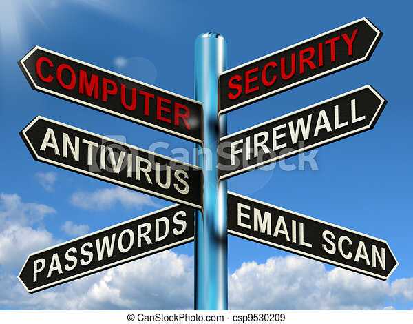 Stock Illustration of Computer Security Signpost Shows ...