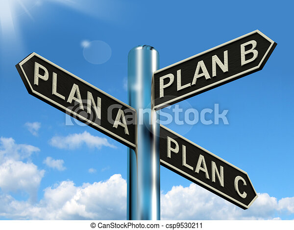 Plan A B or C Choice Showing Strategy Change Or Dilemma - csp9530211