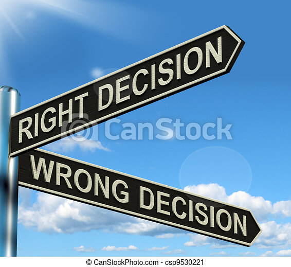 Right Or Wrong Decision Signpost Shows Confusion Outcome And Counceling - csp9530221