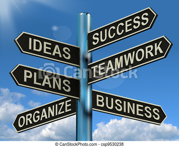 Success Ideas Teamwork Plans Signpost Shows Business Plans And Organization - csp9530238