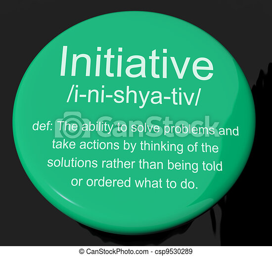 Initiative Definition Button Showing Leadership Resourcefulness - csp9530289