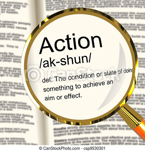 Action Definition Magnifier Showing Acting Or Proactive - csp9530301