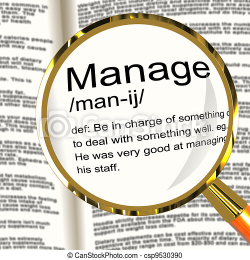 Manage Definition Magnifier Shows Leadership Management And Supervision - csp9530390