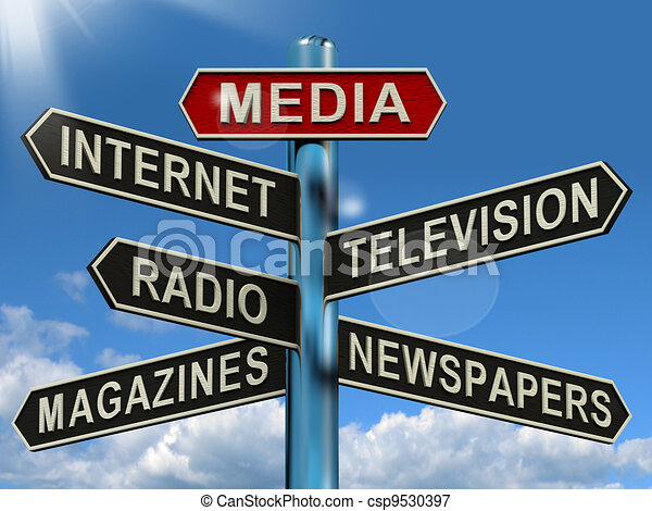 Media Signpost Showing Internet Television Newspapers Magazines - csp9530397