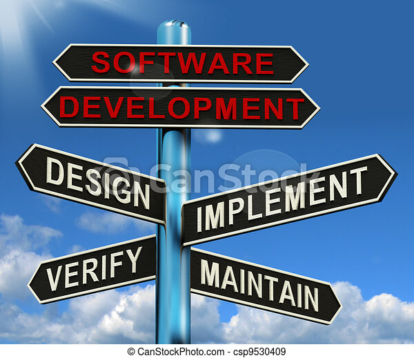 Software Development Pyramid Shows Design Implement Maintain And Verify - csp9530409