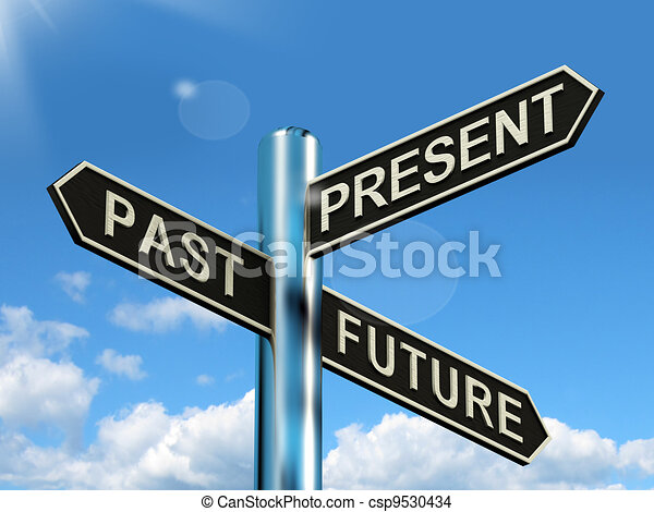 Past Present And Future Signpost Shows Evolution Destiny Or Aging - csp9530434