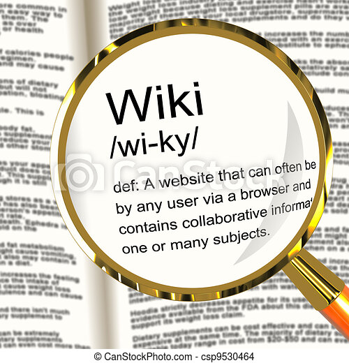 Wiki Definition Magnifier Shows Online Collaborative Community Encyclopedia - csp9530464