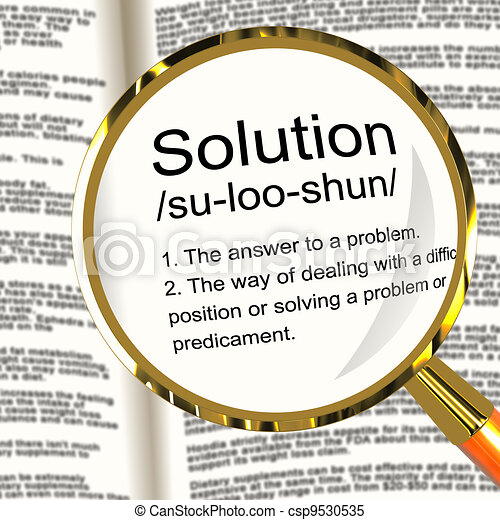 Solution Definition Magnifier Shows Achievement Vision And Success - csp9530535