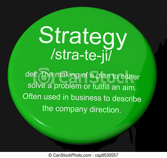 Strategy Definition Button Shows Planning Organization And Leadership - csp9530557
