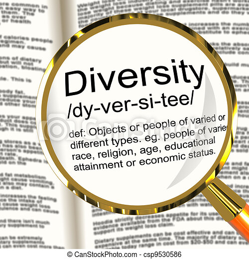 Diversity Definition Magnifier Shows Different Diverse And Mixed Race - csp9530586