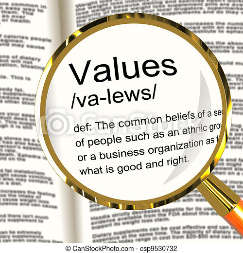 Values Definition Magnifier Showing Principles Virtue And Morali - csp9530732