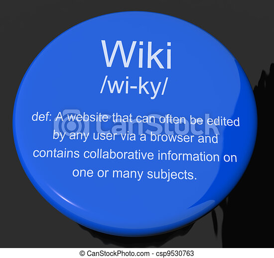 Wiki Definition Button Shows Online Collaborative Community Encyclopedia - csp9530763