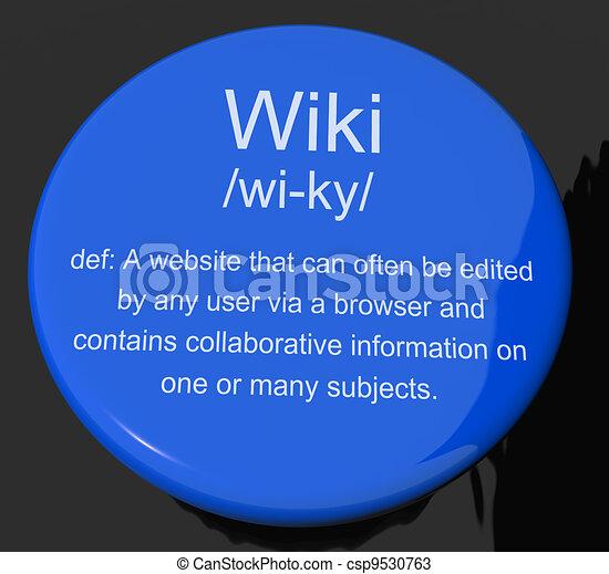 Wiki Definition Button Shows Online Collaborative Community Encyclopedia - csp9530763