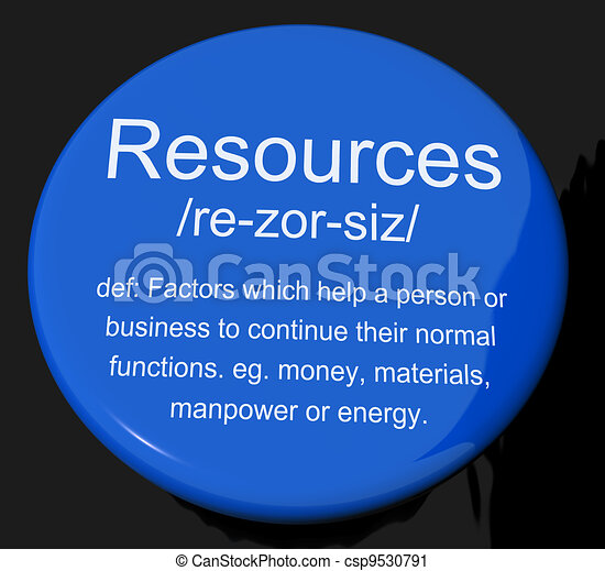 Resources Definition Button Shows Materials Assets And Manpower For A Business - csp9530791