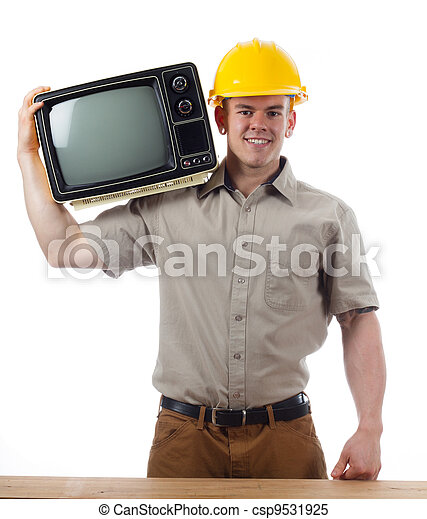 Handy Man with Television - csp9531925