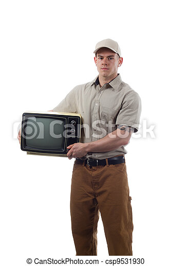 Handy Man with Television - csp9531930