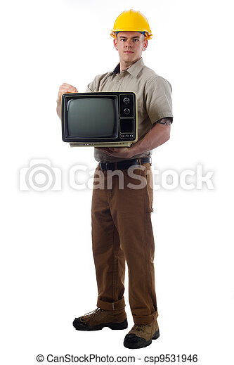 Handy Man with Television - csp9531946
