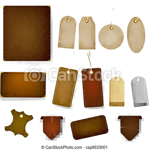 Big set of leather labels and tags. - csp9533001