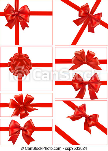 Set of red gift bows with ribbons. - csp9533024