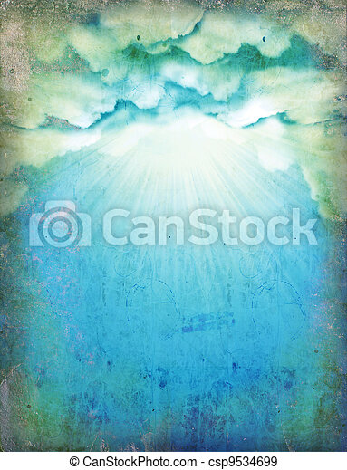 Vintage sky with sun and clouds.Nature background for design on old paper - csp9534699
