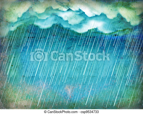 Raining sky.Vintage nature background with dark clouds - csp9534733
