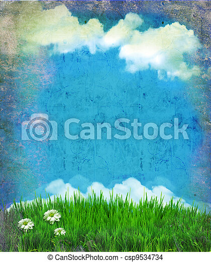 Vintage sky with sun and clouds.Nature background for design on old paper - csp9534734