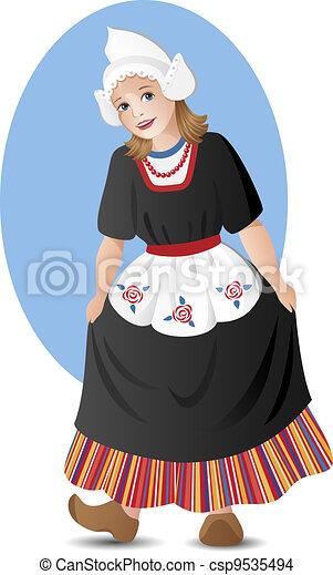 Dutch girl in national costume - csp9535494